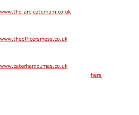 The ARC - CBCT's Arts & Recreation Centre www.the-arc-caterham.co.uk   The Officers' Mess - Serviced Offices www.theofficersmess.co.uk   Caterham Pumas - CBCT's Joliffe Field www.caterhampumas.co.uk Read about our national recognition here